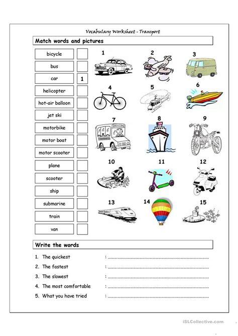 Vocabulary Matching Worksheet  Transport Worksheet  Free Esl Printable Worksheets Made By Teachers