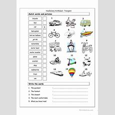 Vocabulary Matching Worksheet  Transport  English Esl Worksheets