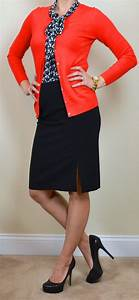Outfit post navy tie-neck blouse red cardigan black pencil skirt
