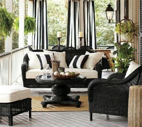 wicker furniture yard sale painted black curtains