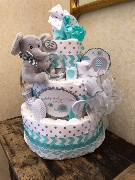 tier teal elephant diaper cake baby boy diaper cake