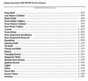 Polaris Sportsman 400  450  500 Service Manual  2004