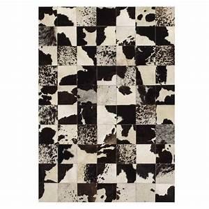 tapis design en peau de cuir de vache noir et blanc par angelo With tapis peau de vache noir et blanc