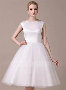 a line princess scoop neck knee length satin tulle wedding With scoop neck wedding dress
