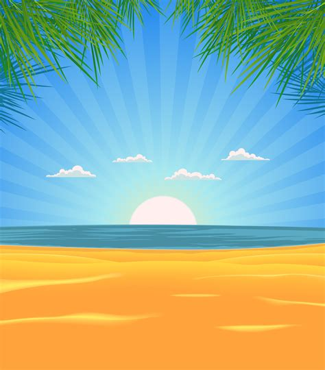summer beach landscape download free vector art stock