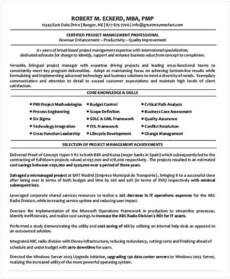 Chronological Resume Project Manager by Project Manager Resume