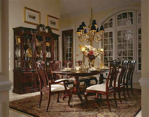 american drew cherry grove  pc double pedestal dining set