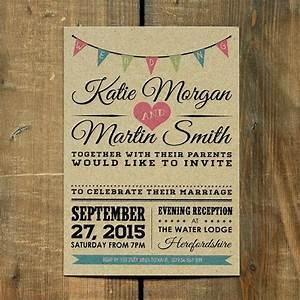 vintage bunting kraft rustic wedding invitation set and With vintage email wedding invitations