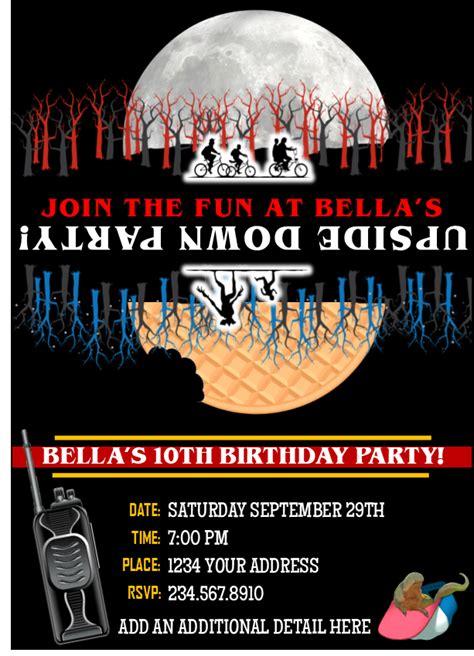 stranger  party invitation  editable queen