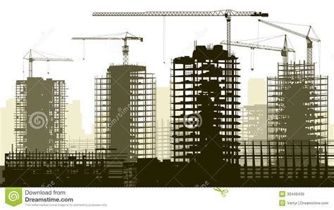 Illustration Of Construction Site With Crane And Building