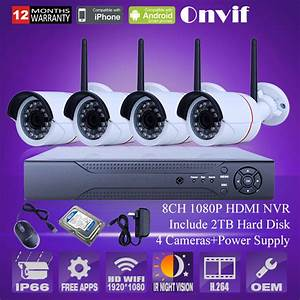 8ch Nvr System Hd 1080p Wireless Cctv Kit Infrared Night