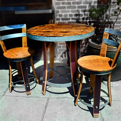 napa general store wine barrel bistro table with two chairs