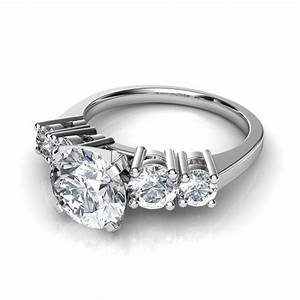 Graduated 5 stone round cut diamond engagement ring in 14k for Five stone wedding rings