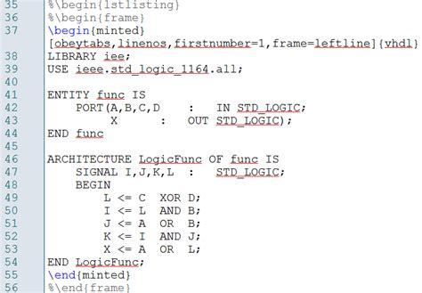 code errors   minted vhdl environment tex