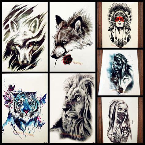 acheter autocollants temporaires de tatouage loup tribal