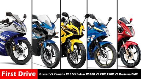 Suzuki Vs Yamaha by Suzuki Gixxer Vs Yamaha R15 Vs Bajaj Pulsar Rs200 Vs Honda
