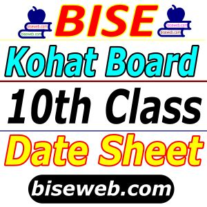 BISE Kohat Board SSC 9th, 10th Class Date Sheet 2021 ...