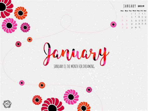 Cute January 2019 Calendar Wallpaper