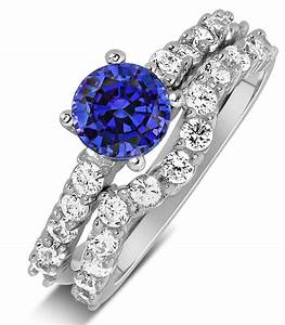 2 carat vintage round cut blue sapphire and diamond With diamond and sapphire wedding ring sets