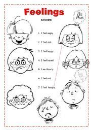 english worksheet feelings preschool feelings