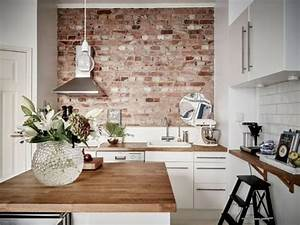 30 trendy brick accent wall ideas for every room digsdigs for Kitchen colors with white cabinets with papier carte grise
