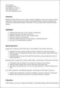alarm technician resume alarm technician resume sle sle resume