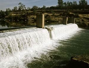 Fish Barrier Dam  Fish Ladder Entrance Is Located To The