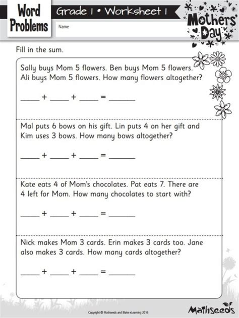 Simple word problems review all these concepts. FREE Mother's Day Themed Math Worksheets! | The Reading ...