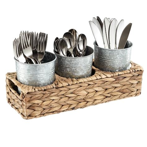 caddy flatware galvanized caddies garden seagrass silverware cups storage basket walmart jars napkins condiments terrace etc chests utensils pollina organizer