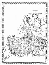 Coloring Pages Costumes Dancers Adult Spanish Books Dancer Printable Digital Print Thinking sketch template
