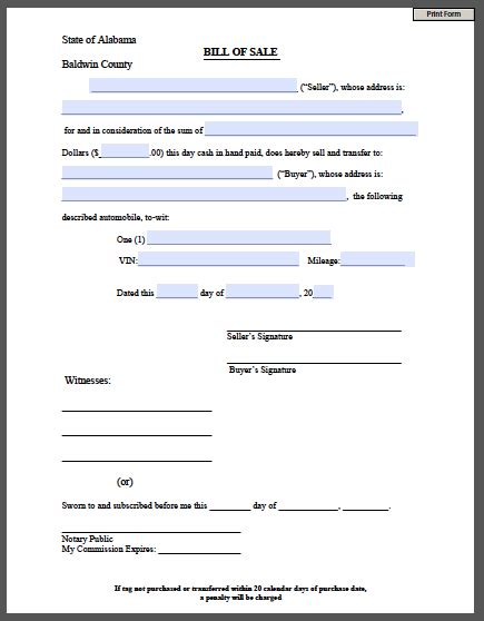Vehicle Bill Of Sale Template Fillable Pdf Printable Bill Of Sale Form Free Fillable Pdf Forms