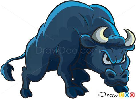 draw angry bull farm animals