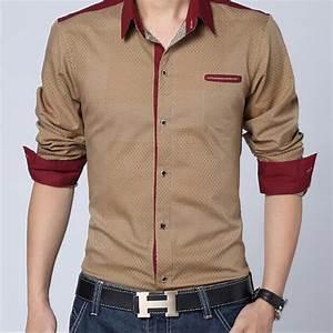 Men Shirt Long Sleeve 2015 Spring New Brand Mens Casual ...
