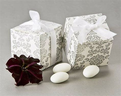 264 Silver Damask Mint Candy Bridal Wedding Favor Boxes W