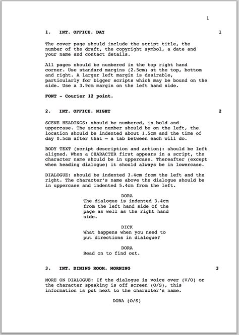 screenplay format template how to format a screenplay australian writers centre