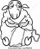 Knitting Sheep Coloring Clip Knit Clipart Cartoon Farm Illustration Funny Animal Vector Yarn Needles Drawings Wool Drawing Fotosearch Silhouette Knitted sketch template
