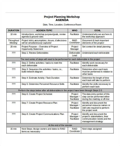 project agenda samples  templates   ms word