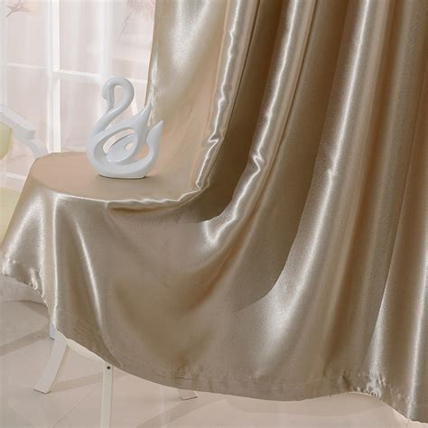 chagne satin curtains blackout curtain for living room