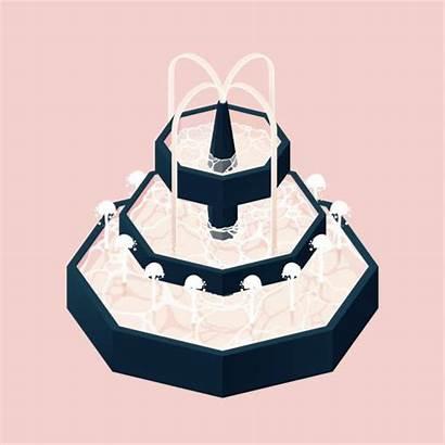 Fountain Water Indoor Isometric Clip Illustrations Interior