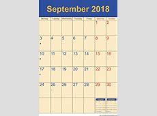 September 2018 Calendar – Template Portrait Printable