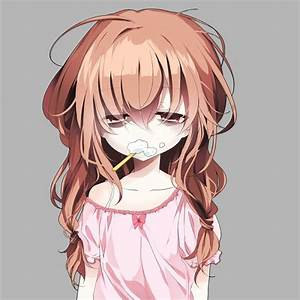 Tired Anime Girl toothbrush and toothpaste in her mouth ...
