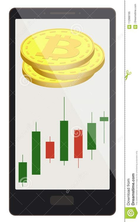 bitcoin coins  candlestick chart   phone screen stock vector illustration  buying