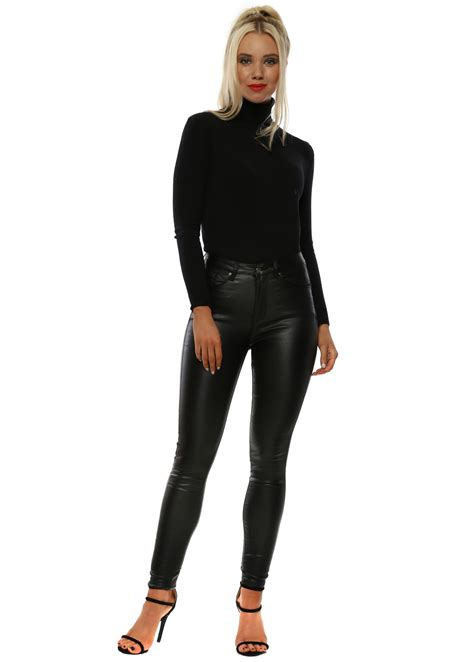 Black Faux Leather Skinny Jeans by Toxik 3