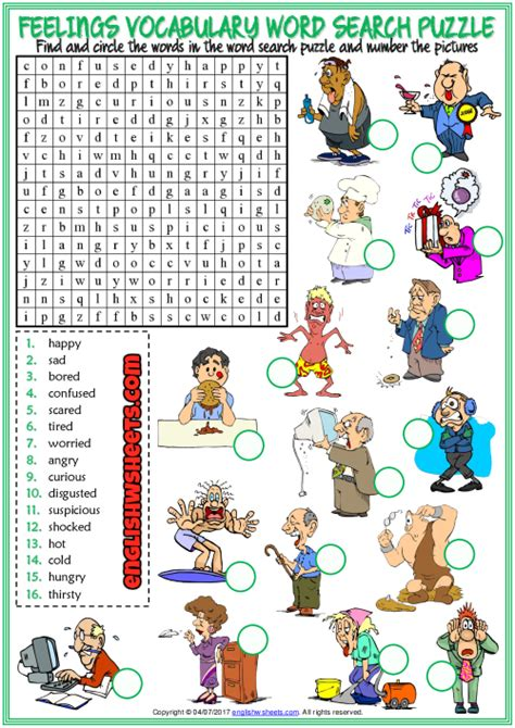feelings esl printable word search puzzle worksheet