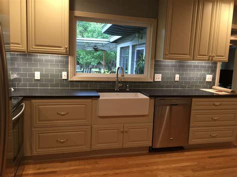 gray glass subway tile kitchen backsplash oak cabinets residential construction and backsplash tile 8345