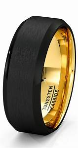 Mens wedding band black gold tungsten ring brushed surface for Black and gold mens wedding ring
