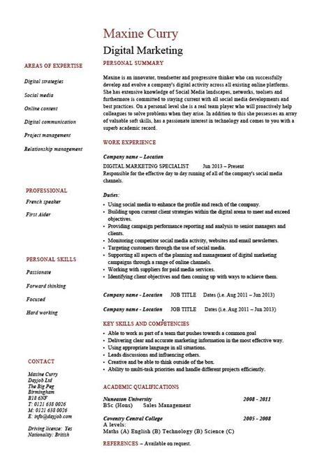 digital marketing resume exle sle web