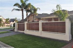 Front Yard Privacy Fence Brown Timber Horizontal Panel White Concrete Pillar Added The Dramatic Fence Designs For Your Front Yard