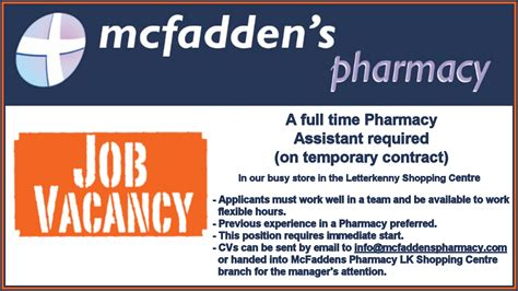 Pharmacist Vacancy by Vacancy Donegal Pharmacy Seeking To Recruit Time