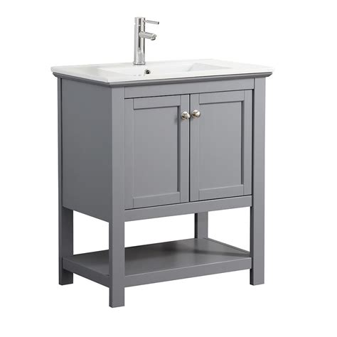 White Vanity With Gray Top by Fresca Bradford 30 In W Traditional Bathroom Vanity In